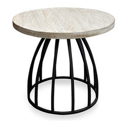 Billy Side Table with Gray Wash Wax Finish - Resting on an inverted basket of dark metal staves, the Billy Side Table's wooden top introduces an abstract landscape of pale grain limed in winter grey. The resulting look is staid yet stylish in a striking achromatic palette, bringing together smooth metal curves with the tactile authenticity of wood patterns; the round profile adds artful composition to the scene.