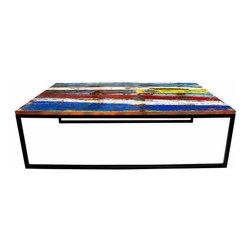 EcoChic Lifestyles - Backshore Reclaimed Wood Coffee Table - Bright bands of tropical color are offset by clean lines of reclaimed iron. Backshore's table top is made of our carefully chosen reclaimed, marine-grade teak, and its legs and frame are made from reclaimed bridge iron. It's the perfect piece for even your largest room.