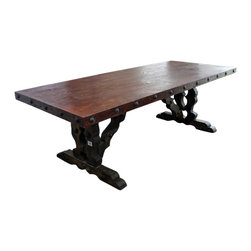 "Mesquite Wood Dining Table - All Natural Mesquite wood dining table. Just look at this thing! The pictures speak for themselves. This Mesquite wood dining room table will be the focal point of your dining room set. You just can't go wrong with this mesquite table that will last the generations. Due to the natural wood grain pattern of each piece of mesquite, not all tables will look exactly like this. Expect yours to be different. Call for details and we can send you pictures of what is in stock. Please note that long wait times could be possible if this item is not in stock at the time of order.Dimensions  99'' l x 32"" h x 40'' w"