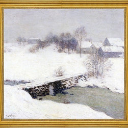 """Willard Leroy Metcalf-16""""x16"""" Framed Canvas - 16"""" x 16"""" Willard Leroy Metcalf The White Mantle framed premium canvas print reproduced to meet museum quality standards. Our museum quality canvas prints are produced using high-precision print technology for a more accurate reproduction printed on high quality canvas with fade-resistant, archival inks. Our progressive business model allows us to offer works of art to you at the best wholesale pricing, significantly less than art gallery prices, affordable to all. This artwork is hand stretched onto wooden stretcher bars, then mounted into our 3"""" wide gold finish frame with black panel by one of our expert framers. Our framed canvas print comes with hardware, ready to hang on your wall.  We present a comprehensive collection of exceptional canvas art reproductions by Willard Leroy Metcalf."""