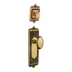 Nostalgic Warehouse - Nostalgic Egg and Dart Plate with Homestead Knob in Antique Brass (733255) - With its distinctive repeating border detail, as well as floral crown and foot, the Egg and Dart Plate and Deadbolt in antique brass resonates grand style and is the ideal choice for larger doors. Add our Homestead Knob with its curvaceous oval shape for a look to enhance any home. All Nostalgic Warehouse knobs are mounted on a solid (not plated) forged brass base for durability and beauty. Only interior half, Must be paired with Nostalgic Warehouse Exterior Handleset.