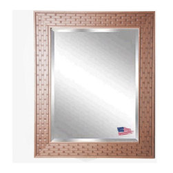 Rayne Mirrors - American Made Brown Bricks Beveled Wall Mirror - Complete any room with this beautifully-textured decorative framed mirror. Its unique brick design provides an eye-catching accent versatile enough to work with a wide range of decorative themes. Rayne's American Made standard of quality includes; metal reinforced frame corner  support, both vertical and horizontal hanging hardware installed and a manufacturers warranty.