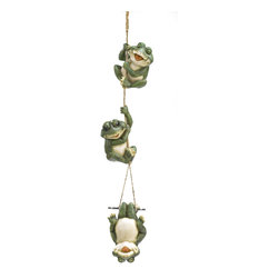 KOOLEKOO - Frolicking Frogs Hanging Decoration - A giggling trio of amphibious acrobats enjoys a merry moment of mirth, playfully tumbling down the length of a free-swinging rope. An utterly irresistible hanging sculpture that brings loads of love and laughter to your garden!