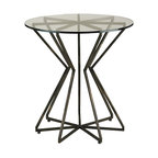 Currey and Company - Charbon Side Table - Stunningly sculptural, this accent table is made in a radial star pattern from metal bars. A glass top allows the pattern to be seen. A dark bronze finish gives the piece a sophisticated feel.
