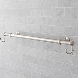 "Sussex Oversized Towel Bar with Double Hooks, Polished Nickel finish - Maximize hanging space above the tub or on any wall of the bath with this extra-long towel bar.Crafted of stainless steel/zinc alloy.Polished-nickel finish is sealed with a moisture-resistant lacquer.Cast with stepped backplates and arched necks.Features two double hooks at each end.Mounting hardware is included. Extends from 26.5"" to 49.5"" to fit in any space. View our {{link path='pages/popups/fb-bath.html' class='popup' width='480' height='300'}}Furniture Brochure{{/link}}. Catalog / Internet only."