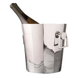 Rounded Octagon Ice Bucket With Handles - It's time for your dinner party. You've been looking forward to this evening all week, and it's finally here. Your guests start trickling in to your home, and their attention is immediately grasped by this silver, octagonal ice bucket. They reach for a bottle of White Zin, and you smile; you've pulled off an elegant party where every detail is chic and stunning. Treat yourself to a glass of wine. You deserve it.