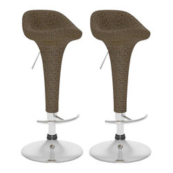 Sonax - Sonax CorLiving Woven Vinyl Adjustable Bar Stool in Brown (Set of 2) - Sonax - Bar Stools - B194TRD - Style your home with this inviting 2 piece bar stool set colored in Varicolored Brown Round Woven vinyl from our newest CorLiving Collection. This bar stool pair is the perfect way to relax indoors or outdoors on your deck. Height adjustable and easy to wipe clean the woven vinyl seat is highlighted with a sturdy chromed gas lift and base. Simple rolled edges on a form fitted seat completes the contemporary design. Featured in Varicolored Brown Round woven vinyl this 2 piece set is a great way to make the most of your bar space.