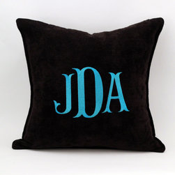 Jaden's Preteen Room - Black, Vanilla or Purple Chenille colors to choose from with Fishtail monogramming and 100% Feather/Down insert included.  Choose your monogram from several styles and thread color choices.