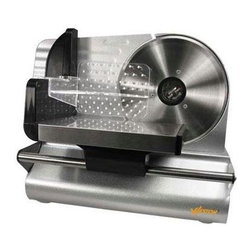 """Weston - Meat Slicer 7.5"""" - Weston 83-0750-W 7.5"""" Meat Slicer - powerful 200 Watt motor. Adjustable thickness settings from deli thin to over .5"""" thick. 7.5"""".  Stainless Steel rotary blade. Smooth gliding carriage.  Stainless Steel food tray.  Sturdy base and suction cup feet for stable and safe operation.  Food pusher with teeth for controlled slicing."""