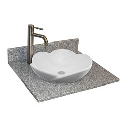 "25"" Granite Vanity Top for Semi-Recessed Sink - Single Faucet Hole - Pre-drilled for a single-hole faucet, this granite vanity countertop also features a 13"" round cutout for a semi-recessed sink. A matching backsplash is included."