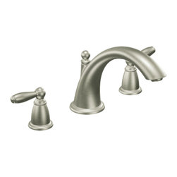 "Moen - Moen T933BN Brushed Nickel Roman Tub Trim 8""-16"" Two Lever Handles, ADA - Moen T933BN is part of the Brantford bath collection. Moen T933BN has a Brushed Nickel finish. Moen T933BN is a roman tub trim 3-hole 8"" - 16"" installation. Roman Tub faucet is a deck-mount with 6 3/4"" high and 8 1/8"" long low-arc spout for conventional styling. Moen T933BN Roman Tub Trim fits the MPact common valve system, and requires Moen's 4992 or 4992 valve. Valve sold separately. Moen T933BN is approved by ADA. Brushed Nickel has a Lifeshine finish guarantee from Moen and provides style and durability. Moen T933BN metal lever handle meets all requirements ofADA ICC/ANSI A117.1 and CSA B-125, ASME A112.18.1M. Lifetime Limited Warranty and 5 Year commercial"
