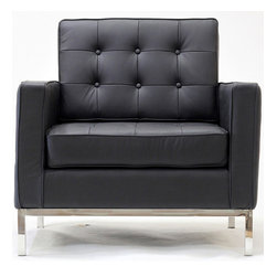 East End Imports - Loft Armchair in Genuine Leather Black - A style so classic you will recognize it instantly, this beautiful set will fill your living room with joy. Each piece is crafted for optimum comfort and fashion. Furnish your space with the best of modern classics.