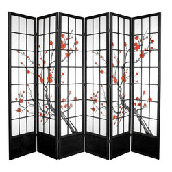 Oriental Furniture - 7 ft. Tall Cherry Blossom Shoji Screen - Black - 6 Panels - Based on the traditional use of shoji rice paper in Japanese homes, this folding room divider doubles down on Eastern style with a beautiful cherry blossom print. Shoji paper is renowned for its ability to allow diffused light while still creating a solid barrier for privacy, and ours comes fiber-reinforced for added durability. This extra-tall divider is built from sturdy spruce, and features a wooden kick plate at the bottom to guard against scuffs.