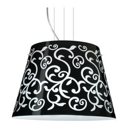 BESA Lighting - BESA Lighting 1KV-4394BD Amelia 3 Light Cable-Hung Pendant - Amelia features a tapered drum shape, open at the top, that fits beautifully in transitional spaces. Our Black Damask glass is an art nouveau creation in hand-blown glass. The inside of the glass is etched so the pattern appears frosted. The background is painted in layers with black and white on the inside so the outer surface remains glossy. The cable pendant fixture is equipped with three (3) 10' silver aircraft cables and 10' AWM cordset, and a low profile flat monopoint canopy.Features: