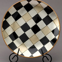 AA Importing - Checkered Plate w Gold Tone, Silver Tone & Bl - You will be sure to love the unique design of this decorative plate in your dining room, kitchen, living room, or den. It features a stylish checkered design with gold toned, silver toned, and black colored squares and a gold colored trim. Comes with display stand. Painted porcelain in Black, Gold and Silver metallic check design with Gold trim. Black painted metal stand included. 10 in. Dia.