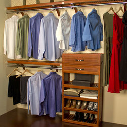 John Louis - John Louis 16-inch Deep Carmel Finish Woodcrest Closet System - This beautiful solid-wood closet storage system features a handsome caramel finish and a clever design. Durably crafted, this versatile storage system will keep your closet neat and orderly by providing ample space for your entire wardrobe.