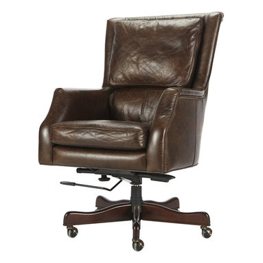 Alex Desk Chair - Our Alex Executive Desk Chair is a reflection of our Alex Occasional Chair�inspired by those found in smoky cigar bars that peppered the streets of Paris in the roaring 20s. Expect to sit for hours at the desk in this seat�working or relaxing; it�s designed with an extra tall back that�s perfectly pitched and equipped with lumbar pillow, and comfortably set arms to rest yours for hours.