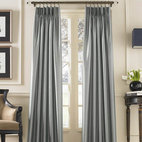 Marquee Shimmering Faux Silk Pinch Pleat Drape - Silk drapes are a must. These faux silk drapes come at the best price ever. They are so nice because they are not pole tops but pinch pleated — rich folks don't do pole tops. These come in several colors and extra long lengths, too.