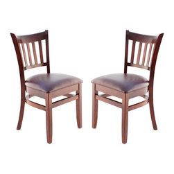 Seating Masters - US Made Vertical Slat Side Chair - Set of 2 (Dark Mahogany), Wine Vinyl Seat - Premium Vertical Slat Wood Chair offers an elegant design which will be sure to make your venue stand out.