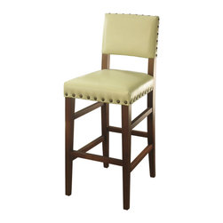 Marco Polo Imports - Emerson Barstool-Ivory - Contemporary bar stool crafted with bycast cushions lined with brass rivets in an pristine ivory finish.