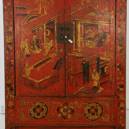 Red Lacquered Chinese Cabinet with Gold Painting - Red Lacquered Chinese Cabinet with Gold Painting