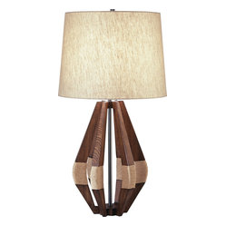 Robert Abbey - Jonathan Adler Wauwinet Table Lamp - Want to get that refreshing rustic feel without the rough edges? This lamp's clean-cut modern design pays tribute to coastal cabin decor with a base of canoe-shaped wooden wedges tied with natural rope. A linen fabric shade matches the neutral color and organic texture of the base for a fresh, natural contemporary look.