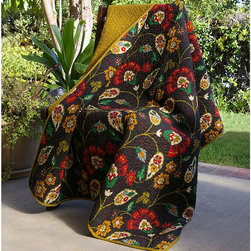 None - Moraga Quilted Throw - The Moraga quilted throw has a black olive background with an amazing retro fashion design that will sharpen up your home decor. Made of 100 percent cotton for the exterior and filled with cotton, this throw is durable and comfortable to touch.