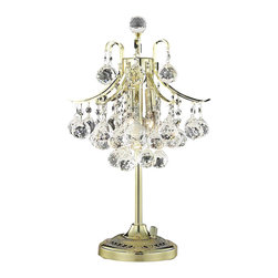 Elegant - Toureg Gold Royal Cut Table Lamp Chandelier - The Toureg Collection sparkles with an extraordinary display of octagons and faceted crystal balls offering an uninterrupted cascade of crystal.
