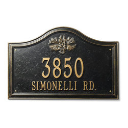 "Frontgate - Designer Arch Wall Address Plaque - Frontgate exclusive. Powdercoating withstands rain, snow and UV rays without fading. Standard: One-line version holds up to five 4"" numbers; two-line version holds up to five 3"" numbers on the first line and seventeen 1-1/4"" characters on the second line. Estate: One-line version holds up to five 5-1/2"" numbers; two-line version holds up to five 4"" numbers on the first line and seventeen 1-3/4"" characters on the second line. To clean, use a non-abrasive detergent and water with a soft cloth, sponge or brush. Create a Designer Address Plaque that pairs perfectly with your home's exterior. Customize this plaque with your choice of two finishes, two sizes, six icons, and one or two lines of personalized text. Noncorroding aluminum with a protective powdercoat.  .  .  .  .  . Wall plaques include four 1"" solid-brass wood screws . Please check for accuracy; personalized orders cannot be modified, cancelled, or returned after being placed. Made in USA. Personalized items are nonreturnable."