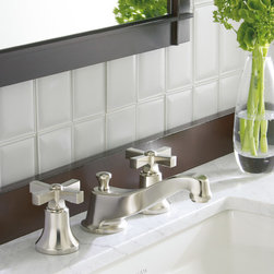 "Tuxedo Collection By Barbara Barry For KALLISTA - Barbara Barry, one of the world's most highly regarded designers, explored the inherent beauty of antique sterling flatware for the Tuxedo collection. As a result, Tuxedo pieces are ""beautiful to the eye and feel good in the hand."" The pedestal sink, mirror, and wall sconces introduce a refined simplicity ideal for a classic tile-and-marble bathroom as well as a modern, minimalist décor."