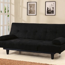 "Acme - Cybil Black Microfiber Fabric Upholstered Adjustable Sofa Futon Bed - Cybil black microfiber fabric upholstered adjustable sofa futon bed with tufted back and adjustable side rest. This set features a microfiber fabric upholstery and a folding back to lay flat to convert to a sleep area, and adjustable side rest to fold up when laid flat. Measures when flat 77"" x 49"" x 17""H. Measures when upright 77"" x 37"" x 37""H. Some assembly required."
