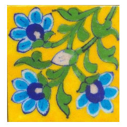 "Knobco - Tiles 3X3""Inch, Blue And  Turquoise Flower With Green Leaves On Yellow - Blue and  turquoise flower with green leaves on yellow tile from Jaipur, India. Unique, hand painted tiles for your kitchen or other tiling project. Tile is 3x3"" in size."