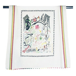 CATSTUDIO - Brooklyn Dish Towel by Catstudio - This original design celebrates the city of Brooklyn.  This design is silk screened, then framed with ahand embroidered border on a 100% cotton dish towel/ hand towel/ guest towel/ bar towel. Three stripes down both sides and hand dyed rick-rack at the top and bottom add a charming vintage touch. Delightfully presented in a reusable organdy pouch. Machine wash and dry.