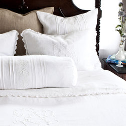 """Pom Pom at Home - Pom Pom at Home Prague Duvet Cover - Pom Pom at Home's bedding and accessories lend lived-in elegance to everyday experiences. The Prague duvet cover combines a luxurious linen construction with feminine accents. Featuring delicate emblem embroidery, this white bedding showcases hand-crocheted lace trim for romantic bedroom appeal. Available in queen and king. Made from 100% linen. Queen: 88""""W x 88""""H, King: 104""""W x 90""""H, Trim: 1""""W."""