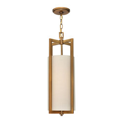 Hinkley Lighting - Hinkley Lighting 3217BR Hampton Transitional Pendant Light - Hampton is a modern transitional design, offering the ultimate in urban sophistication. The minimal rectangular frame, paired with a decorative acrylic etched bottom lens, is softened by a contemporary off-white linen drum shade.
