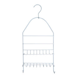 Metal Shower Caddy with Pivoting Hook White - This shower caddy is made of durable, white stainless steel and features 2 shelves and hanging hooks for keeping shampoos, conditioners, soap, razors closer and within reach. Top pivoting hook holds the caddy securely in place on most pipes. Dimensions are height of 18.1-Inch, width of 8.7-Inch and depth of 3.5-Inch. No assembly required. Clean with warm soapy water. Color white. This shower caddy will be a welcomed addition to your shower and will offer useful storage in any bathroom! Complete your decoration with other products of the same collection. Imported.