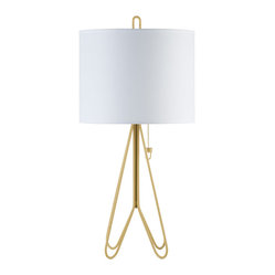 Lights Up! - Flight Table Lamp Dark Yellow Base, White Linen Shade - Whether your passion is for science or science fiction, you're sure to appreciate the futuristic design of this modern table lamp. The yellow metal base is pleasingly complemented by the white linen shade, for an overall look that's ahead of its time.