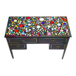 EcoFirstArt - Harland Miller Desk - Whether you're working or writing love poems, having this colorful desk in your life will make all your literary efforts more enchanting. London artist and writer Harland Miller was it's original owner, even penning his first novel upon its then unadorned surface. In its latest incarnation, a Kandinsky-inspired kaleidoscope of colors on its top creates a room-brightening mosaic. Slide open the drawers to experience happy bursts of color that are the icing on the cake.
