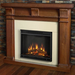 Real Flame - Electric Fireplace in Walnut Finish - Includes wooden mantel, firebox, screen, and remote control. Distinct craftsman appeal. Three arched corbels supporting substantial top. Plugs into any standard outlet. 1400 watt heater. Rated over 4700 BTUs per hour. Programmable thermostat with display in fahrenheit or celsius. Ultra bright LED technology with five brightness settings. Digital readout display with up to nine hours timed shut off. Dynamic ember effect. UL and ISTA 3A certified. Warranty: Ninety days on mantel and one year on electric firebox. Made from solid wood, veneered MDF and powder coated steel. Assembly required. 49.9 in. W x 12.7 in. D x 42 in. H (108.5 lbs.)This design is sure to compliment a variety of decor, from classic to contemporary.