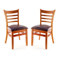 Seating Masters - US Made Ladder Back Chair - Set of 2 (Cherry), Wine Vinyl Seat - The Premium Wood Ladder Back Chair offers a traditional design which will be sure to provide your customers with the comfort they desire.