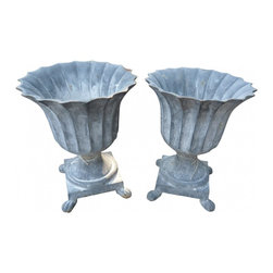 Tulip Urns - Pair of Metal Reproduction Tulip Urns in the French Style.