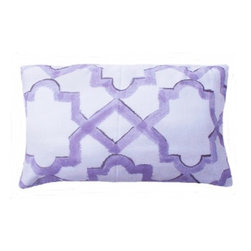 5 Surry Lane - Dransfield and Ross Purple Moroccan Lattice Lumbar Pillow - Bring a dash of worldly appeal to your room with this globally inspired pillow.  It will brighten any space with its vivid pattern and exotic vibe.  Reverses to solid.  Down/feather insert included.  Hidden zipper closure.  Made in the USA.