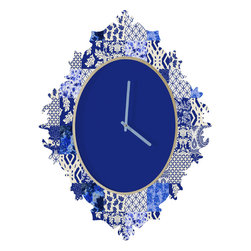 DENY Designs - Aimee St Hill Blue Is Just A Mood Baroque Clock - it's about time to check out the baroque clock collection! With a sleek mix of baltic birch ply trim that's unique to each piece and a glossy aluminum face, this baroque clock is gonna turn up the fancy on that plain Jane wall of yours.