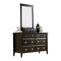 Sauder - Sauder Shoal Creek Dresser and Mirror Set in Jamocha Wood - Sauder - Dressers - 409937PKG