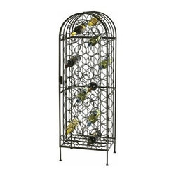 Howard Miller Lockable Wine Arbor - The Howard Miller Lockable Wine Arbor is a stylish wine rack with a locking hinged front door. The wine arbor is crafted of wrought iron with elegant scrollwork finished in a warm gray. It beautifully showcases and keeps secure up to 45 wine bottles. The wine rack holds each bottle at the proper angle for storing wines and the lock keeps them secure. It measures 17.5W x 14D x 54H inches. Adjustable levelers under each corner provide stability on uneven and carpeted floors. Some assembly is required.The Howard Miller StoryIncomparable workmanship unsurpassed quality and a quest for perfection - these were the cornerstones of the company Howard C. Miller founded back in 1926 at the age of 21. Even then Howard Miller understood the need to create products that would be steeped in quality and value.In 1989 Howard Miller began creating collectors' cabinets with the same attention to detail and craftsmanship inherent in their clock making. Fashioned from glass and hardwoods Howard Miller cabinets are ideal for displaying heirlooms plates glassware and other collectibles.A highly respected brand Howard Miller maintains its popularity because of the company's commitment to quality. Every product manufactured at the company's sprawling facility in Zeeland Michigan undergoes stringent tests and exceeds industry standards to ensure a lifetime of enjoyment.