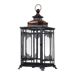 Sterling Industries - Black and Gold Hurricane Lantern Decorative Accessory in Antique Black with Cass - Black and Gold Hurricane Lantern Decorative Accessory in Antique Black with Cassis Gold by Sterling Industries