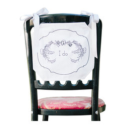 Tin Parade - Chair Banner, I Do - From the combined talents of an event planner and graphic designer, comes a new concept in party decor. Simply hang a Chair Banner down the back of your guest of honor's chair, or display it on your front door for the warmest of welcomes.