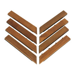 Bare Decor - U-Snap Corner Piece Interlocking Flooring in Solid Teak Wood (Set of 8) - The U-Snap Corner interlocking flooring tiles come in a oiled finish in a solid teak wood. No glue or tools are required, just snap the piece to the U-Snap tile. The floor can be used for indoor or outdoor settings. Perfect for a entryway, mudroom, deck, terrace, showers, bathrooms, walkways, balconies, rooftops, or anywhere in between. Even if the surface is a bit uneven.