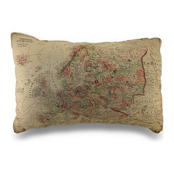 Zeckos - Tan Map of Europe Decorative Canvas Throw Pillow 26 x 17 in. - Perfect for those with a love for travel, this rectangular 100% cotton canvas decorative pillow adds a touch of European charm with its printed map of Europe on the front anywhere inside your home. Featured in tan with an ivory backing, it looks amazing tossed on the couch, resting in your favorite chair or highlighting your bed in your bedroom or the guest room. The pillow measures 26 inches long by 17 inches wide (66 x 43 cm), and is 100% polyester filled. It is recommended to dry or spot clean only. It's a wonderful housewarming gift idea perfect for any travel enthusiast or lover of maps sure be admired!