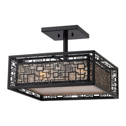 Quoizel - Quoizel KNR1716K Kenner Semi-flush Mount Ceiling Light - Handsome and a bit mysterious, the Kenner Collection has an intricate pattern on the outer shade that is enhanced by the Mystic Black finish. An inner shade softens the masculine look with a warm, diffused glow.